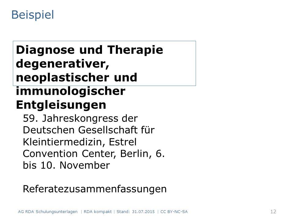 Beispiel AG RDA Schulungsunterlagen | RDA kompakt | Stand: 31.07.2015 | CC BY-NC-SA Diagnose und Therapie degenerativer, neoplastischer und immunologischer Entgleisungen 59.