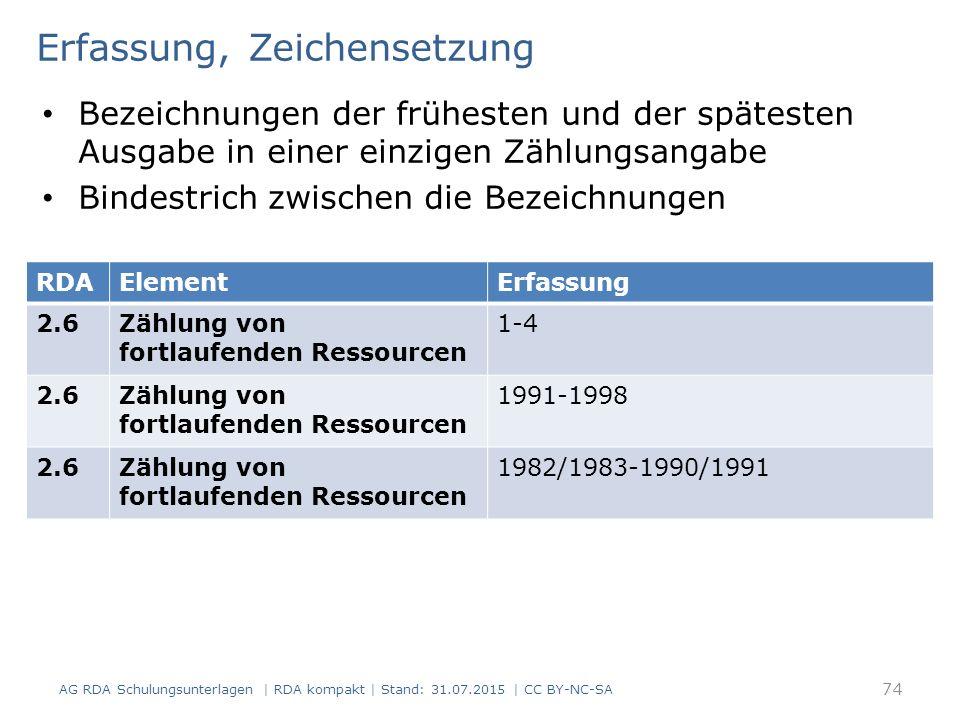 Erfassung, Zeichensetzung Bezeichnungen der frühesten und der spätesten Ausgabe in einer einzigen Zählungsangabe Bindestrich zwischen die Bezeichnungen AG RDA Schulungsunterlagen | RDA kompakt | Stand: 31.07.2015 | CC BY-NC-SA 74 RDAElementErfassung 2.6Zählung von fortlaufenden Ressourcen 1-4 2.6Zählung von fortlaufenden Ressourcen 1991-1998 2.6Zählung von fortlaufenden Ressourcen 1982/1983-1990/1991