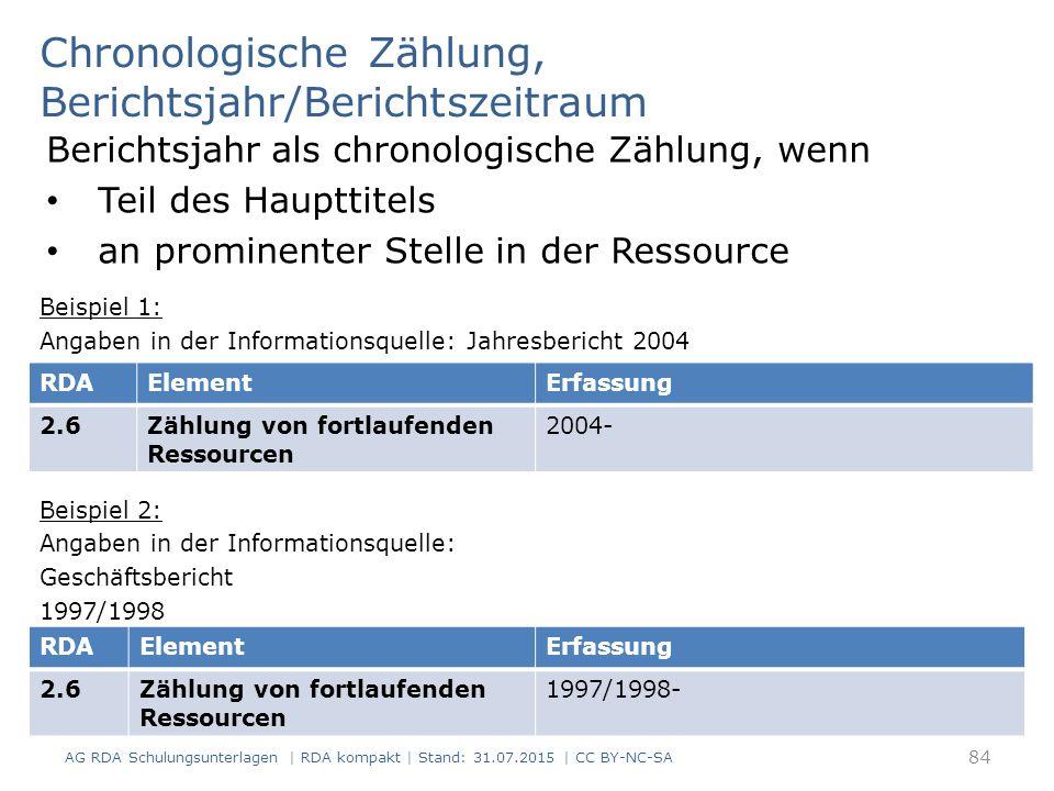 Chronologische Zählung, Berichtsjahr/Berichtszeitraum Berichtsjahr als chronologische Zählung, wenn Teil des Haupttitels an prominenter Stelle in der Ressource Beispiel 1: Angaben in der Informationsquelle: Jahresbericht 2004 Beispiel 2: Angaben in der Informationsquelle: Geschäftsbericht 1997/1998 84 RDAElementErfassung 2.6Zählung von fortlaufenden Ressourcen 2004- RDAElementErfassung 2.6Zählung von fortlaufenden Ressourcen 1997/1998- AG RDA Schulungsunterlagen | RDA kompakt | Stand: 31.07.2015 | CC BY-NC-SA