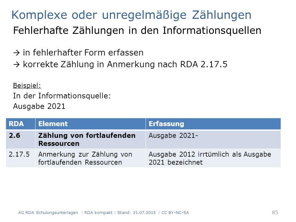 Komplexe oder unregelmäßige Zählungen Fehlerhafte Zählungen in den Informationsquellen  in fehlerhafter Form erfassen  korrekte Zählung in Anmerkung nach RDA 2.17.5 Beispiel: In der Informationsquelle: Ausgabe 2021 AG RDA Schulungsunterlagen | RDA kompakt | Stand: 31.07.2015 | CC BY-NC-SA 85 RDAElementErfassung 2.6Zählung von fortlaufenden Ressourcen Ausgabe 2021- 2.17.5Anmerkung zur Zählung von fortlaufenden Ressourcen Ausgabe 2012 irrtümlich als Ausgabe 2021 bezeichnet