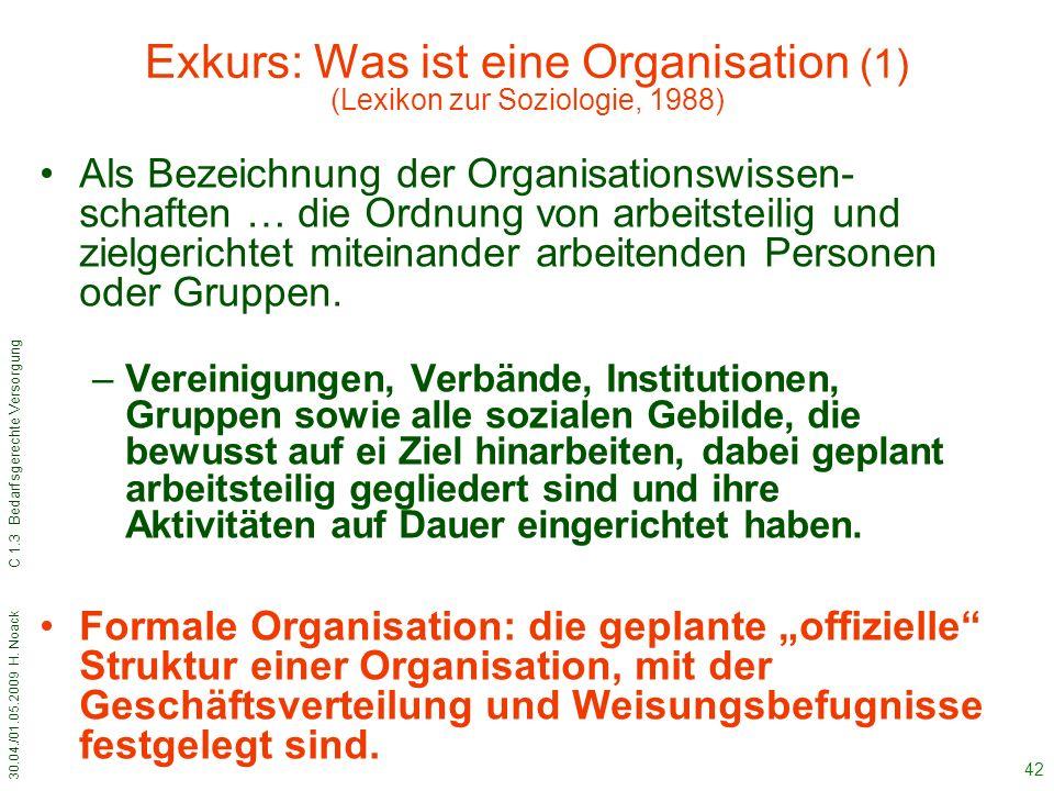 30.04./01.05.2009 H. Noack C 1.3 Bedarfsgerechte Versorgung 42 Exkurs: Was ist eine Organisation (1) (Lexikon zur Soziologie, 1988) Als Bezeichnung de
