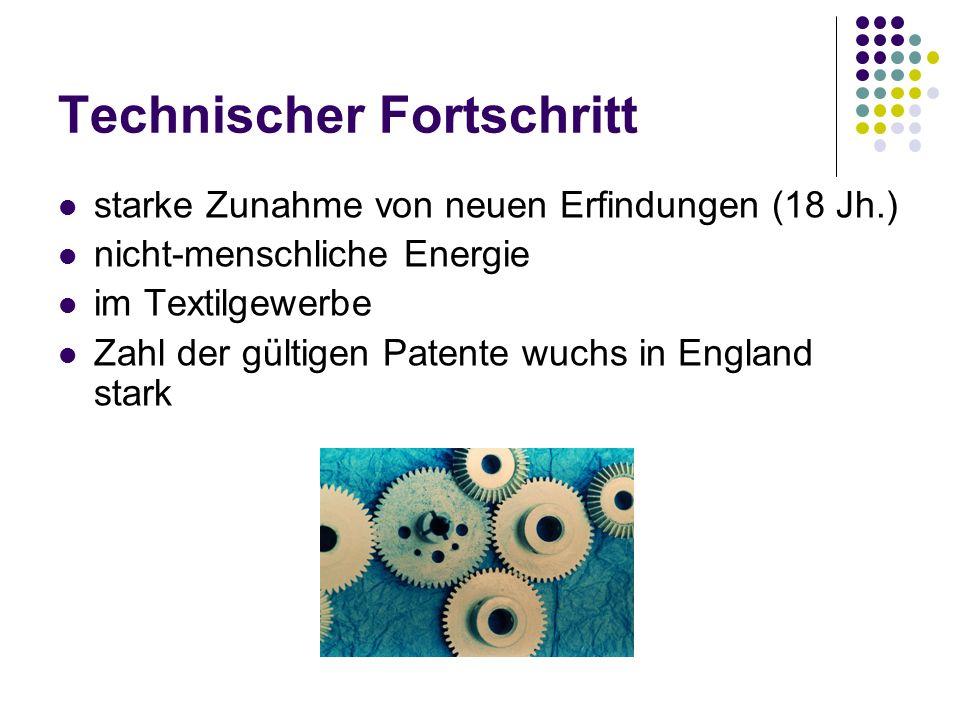Technischer Fortschritt starke Zunahme von neuen Erfindungen (18 Jh.) nicht-menschliche Energie im Textilgewerbe Zahl der gültigen Patente wuchs in En