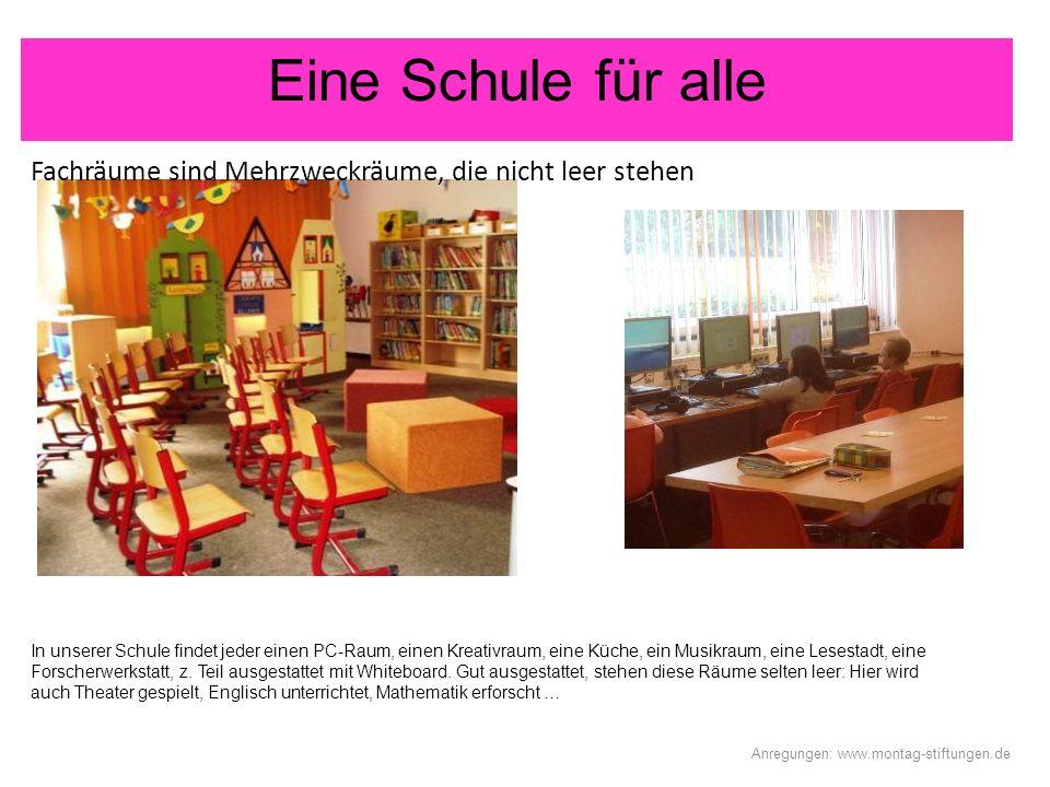 Eine Schule für alle Fachräume sind Mehrzweckräume, die nicht leer stehen Anregungen: www.montag-stiftungen.de In unserer Schule findet jeder einen PC