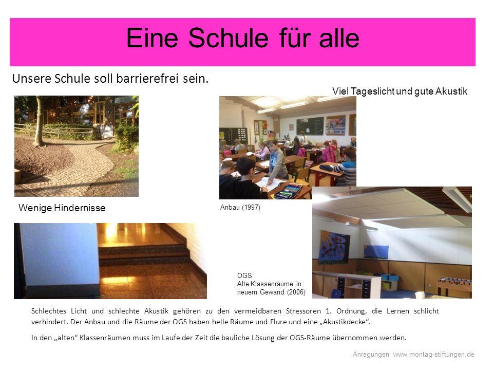Eine Schule für alle Anregungen: www.montag-stiftungen.de Unsere Schule soll barrierefrei sein.. Schlechtes Licht und schlechte Akustik gehören zu den