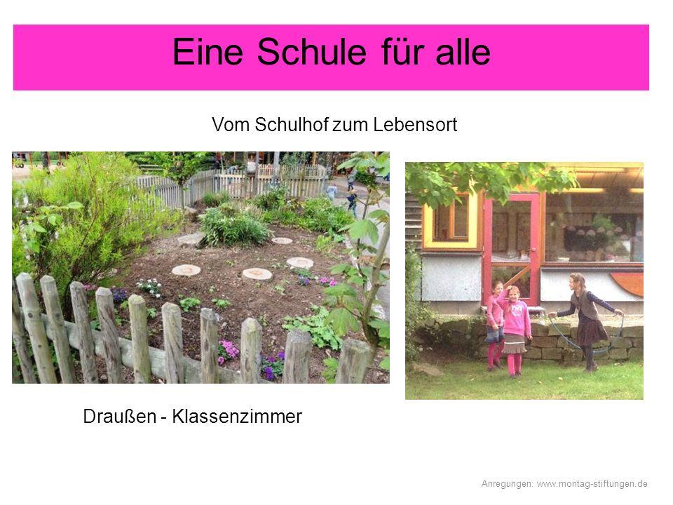 Draußen - Klassenzimmer Eine Schule für alle Anregungen: www.montag-stiftungen.de Vom Schulhof zum Lebensort
