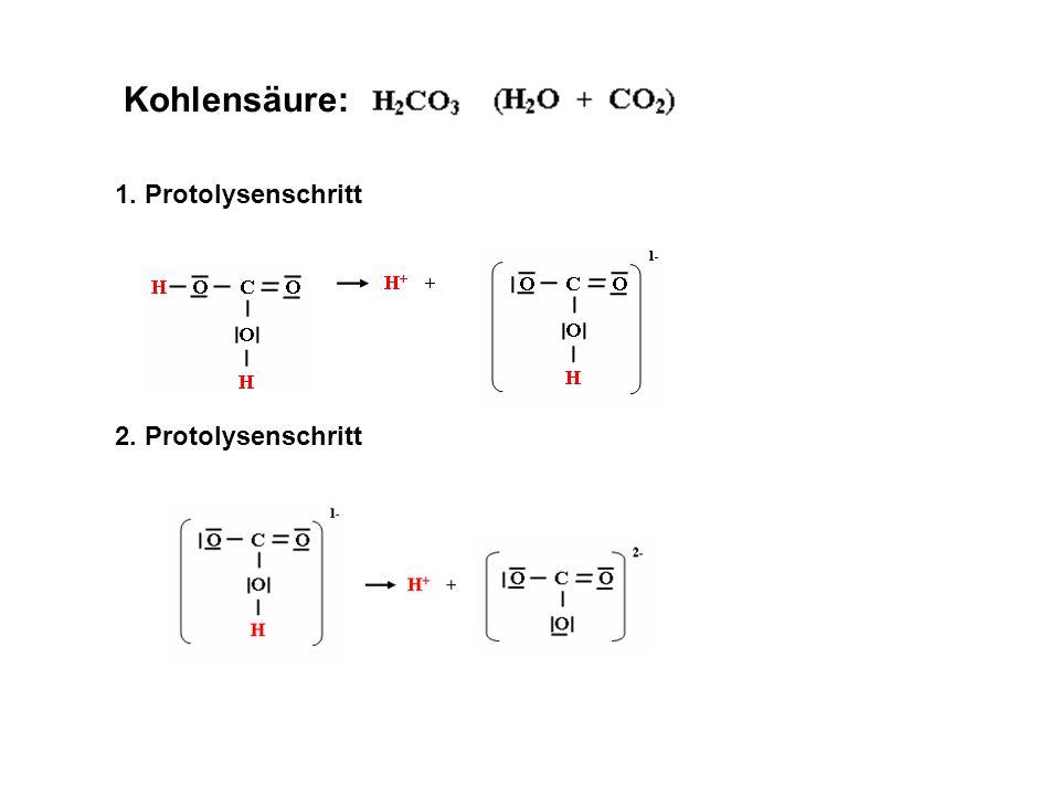 Kohlensäure: 1. Protolysenschritt 2. Protolysenschritt