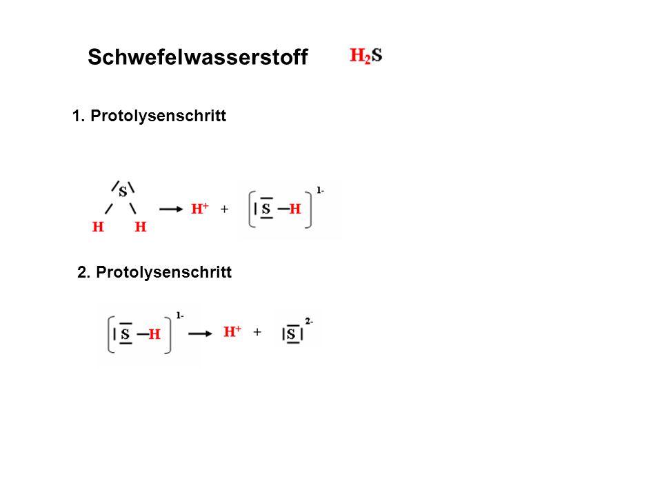 Schwefelwasserstoff 1. Protolysenschritt 2. Protolysenschritt