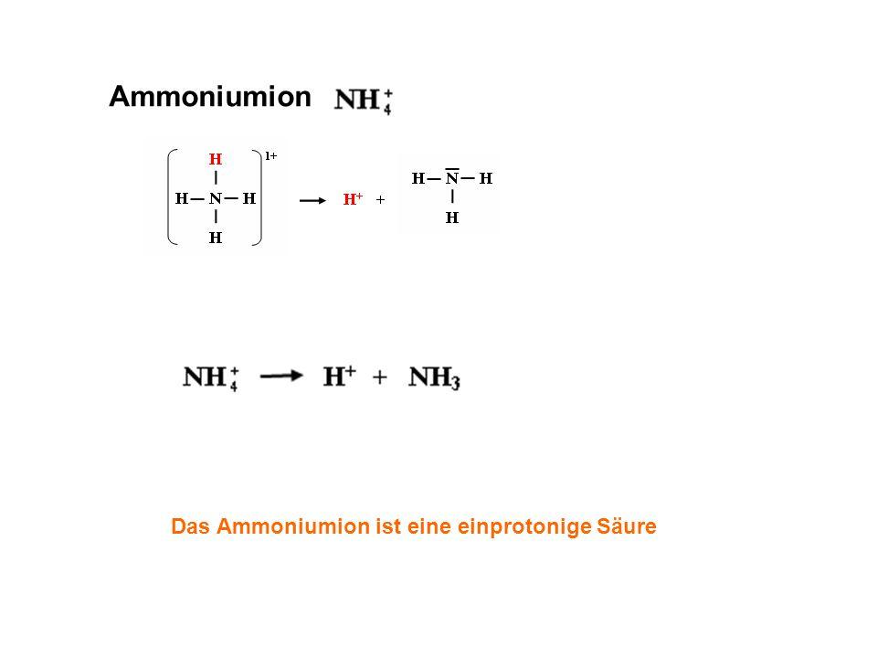 Ammoniumion Das Ammoniumion ist eine einprotonige Säure