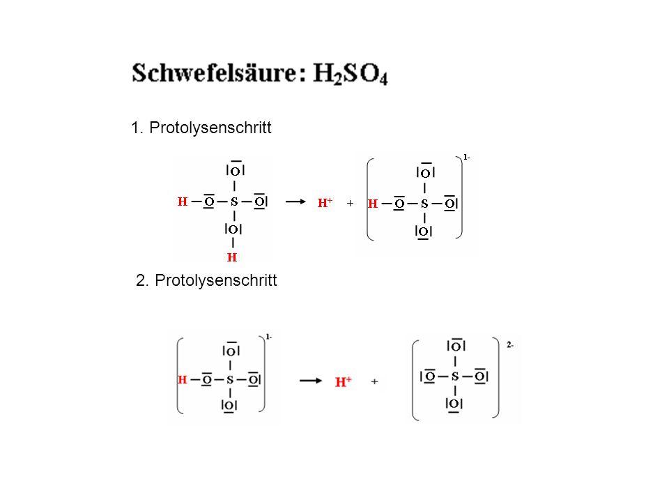 1. Protolysenschritt 2. Protolysenschritt Schwefelsäure ist eine zweiprotonige Säure