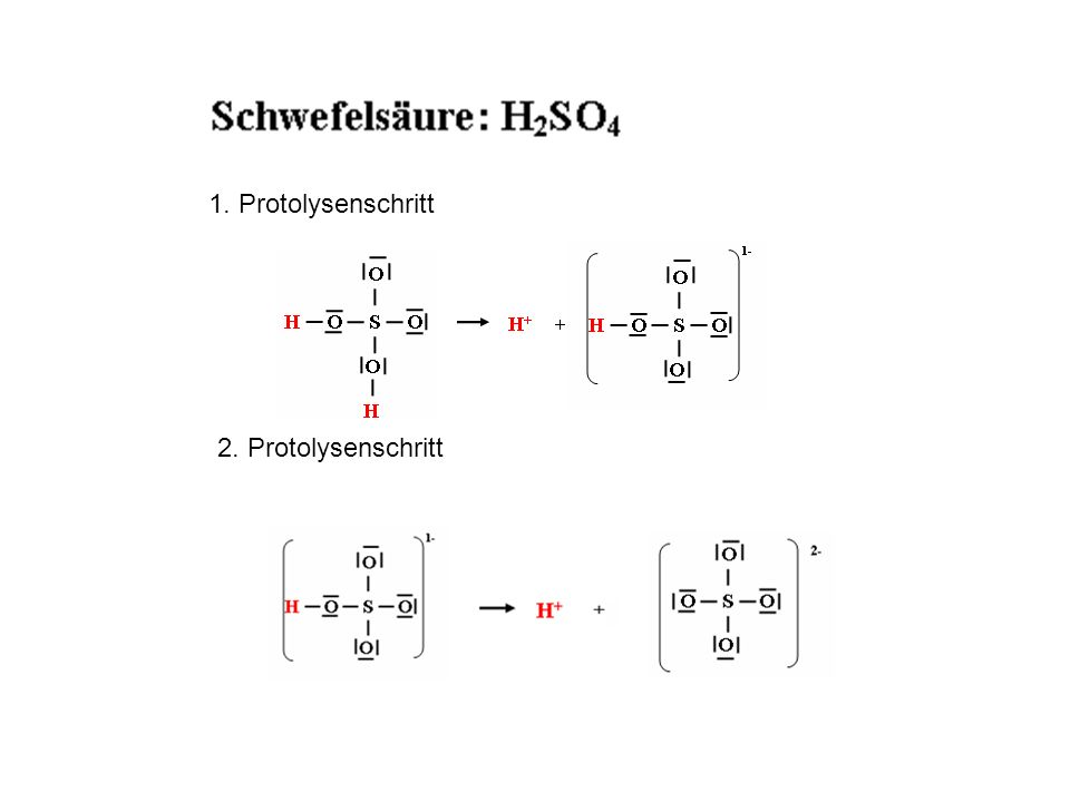 1. Protolysenschritt 2. Protolysenschritt