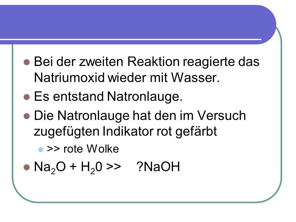 Bei der zweiten Reaktion reagierte das Natriumoxid wieder mit Wasser. Es entstand Natronlauge. Die Natronlauge hat den im Versuch zugefügten Indikator