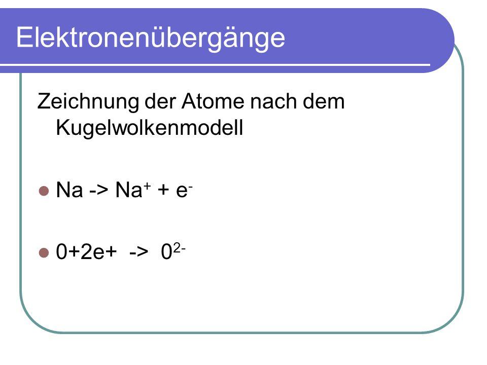 Elektronenübergänge Zeichnung der Atome nach dem Kugelwolkenmodell Na -> Na + + e - 0+2e+ -> 0 2-