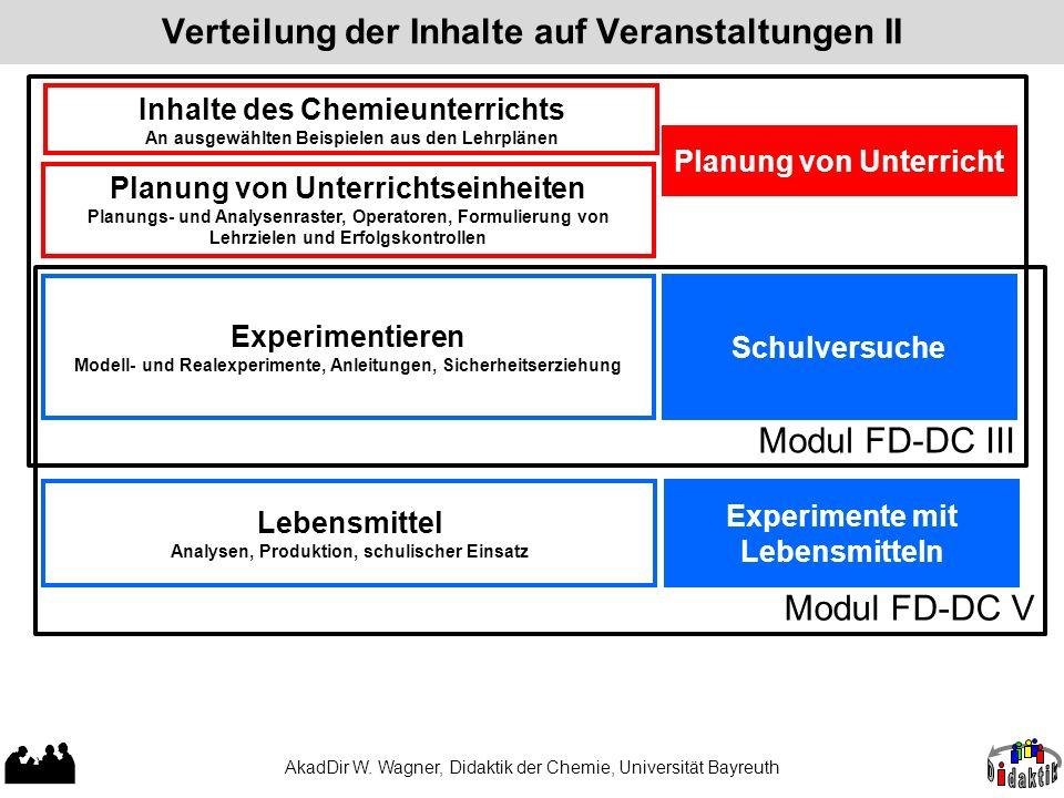 Modul FD-DC V Verteilung der Inhalte auf Veranstaltungen II AkadDir W. Wagner, Didaktik der Chemie, Universität Bayreuth Modul FD-DC III Experimentier