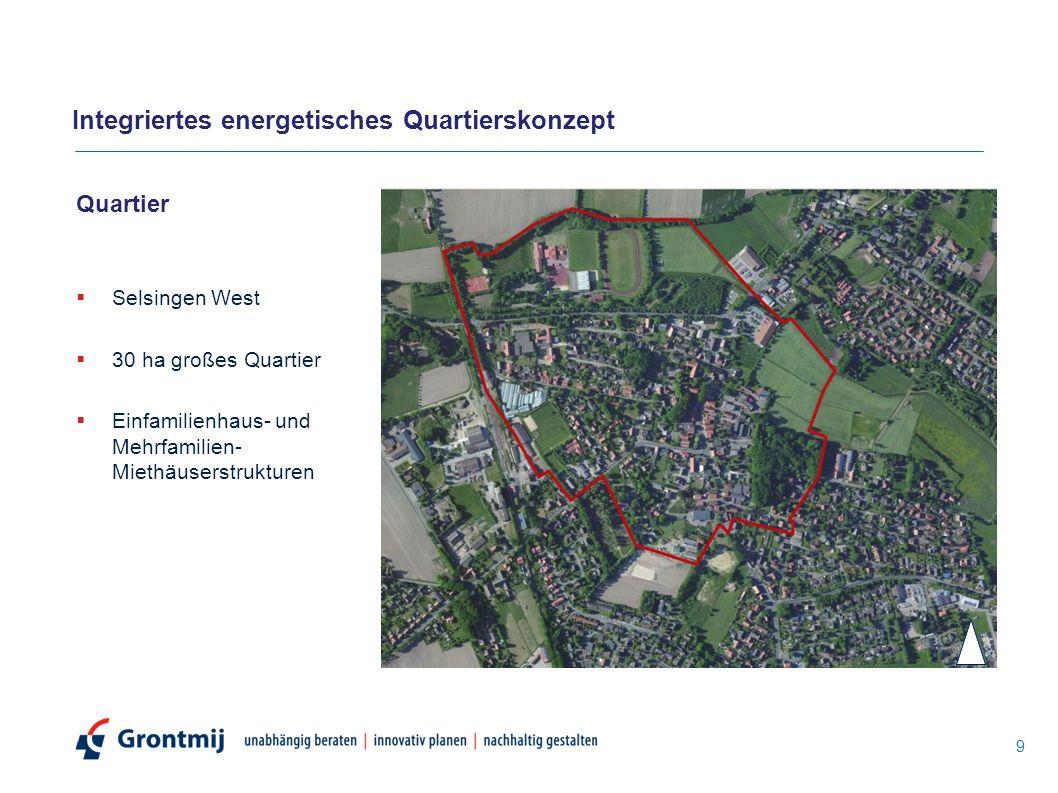 Quartier  Selsingen West  30 ha großes Quartier  Einfamilienhaus- und Mehrfamilien- Miethäuserstrukturen 9 Integriertes energetisches Quartierskonz