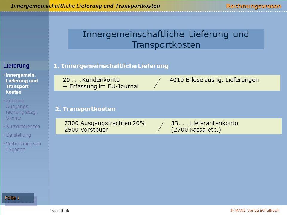 © MANZ Verlag Schulbuch Rechnungswesen Visiothek Folie 1 Innergemeinschaftliche Lieferung und Transportkosten Lieferung Innergemein. Lieferung und Tra