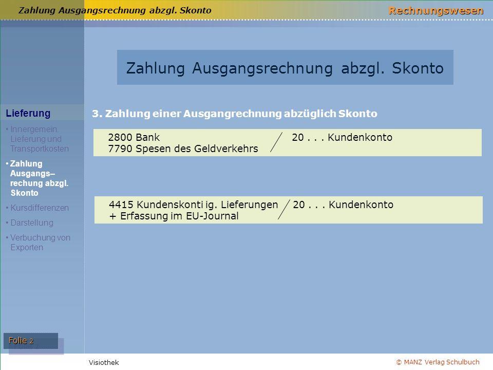 © MANZ Verlag Schulbuch Rechnungswesen Visiothek Folie 2 Zahlung Ausgangsrechnung abzgl. Skonto Lieferung Innergemein. Lieferung und Transportkosten Z