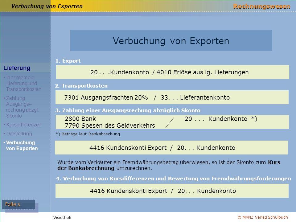 © MANZ Verlag Schulbuch Rechnungswesen Visiothek Folie 5 Verbuchung von Exporten Lieferung Innergemein.