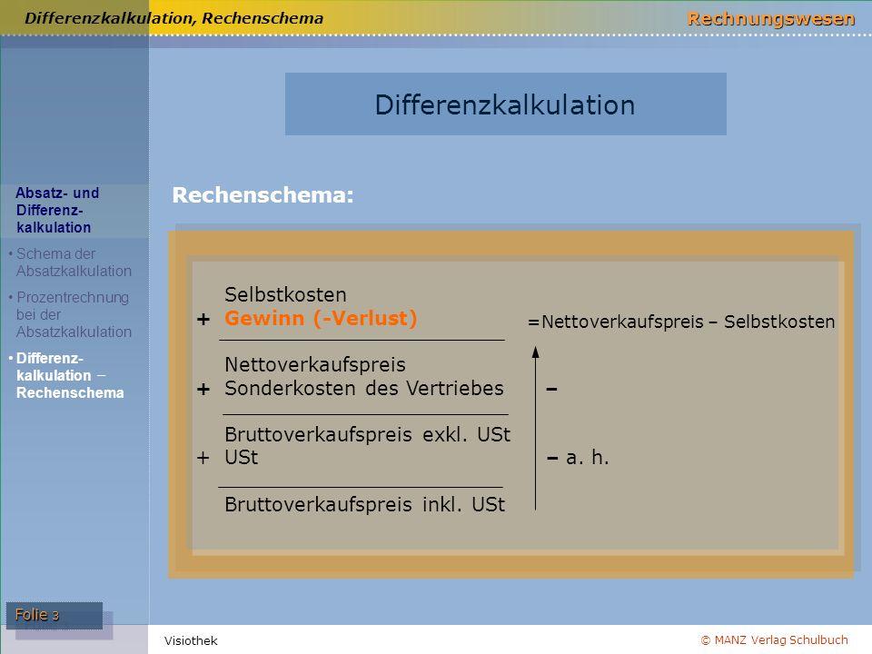 © MANZ Verlag Schulbuch Rechnungswesen Folie 3 Visiothek Differenzkalkulation, Rechenschema Selbstkosten +Gewinn (-Verlust) Nettoverkaufspreis + Sonde