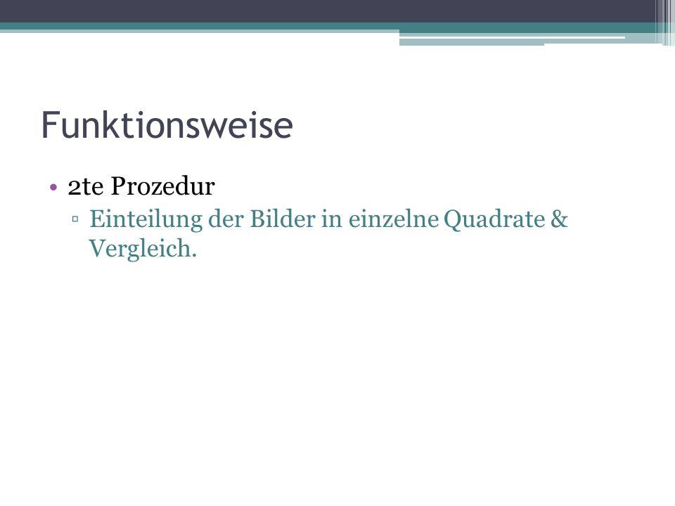 Funktionsweise 2te Prozedur ▫Einteilung der Bilder in einzelne Quadrate & Vergleich.