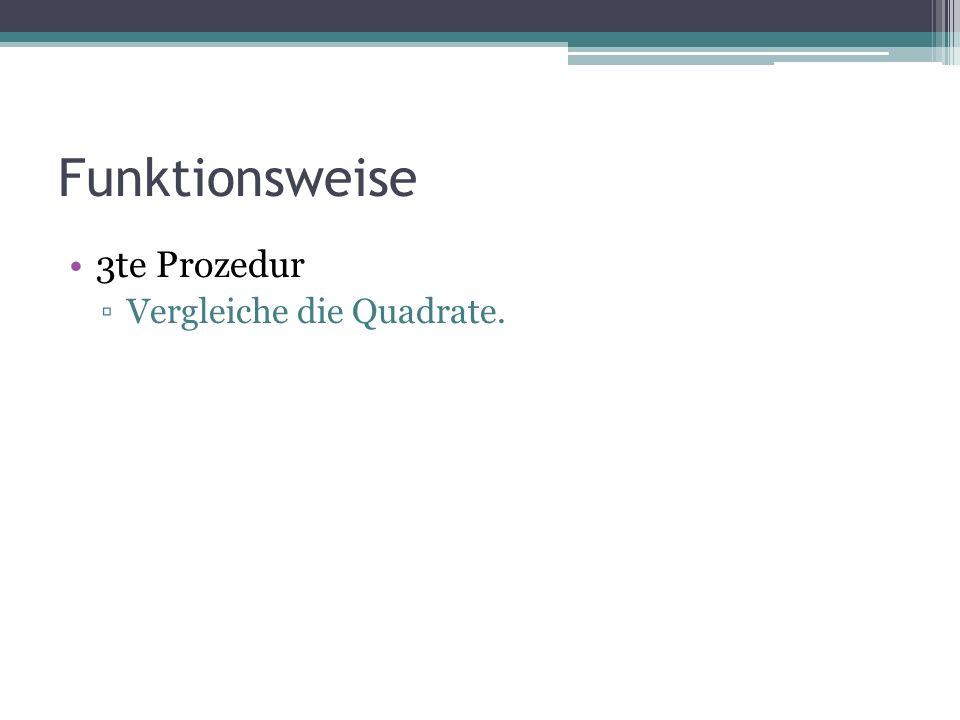 Funktionsweise 3te Prozedur ▫Vergleiche die Quadrate.