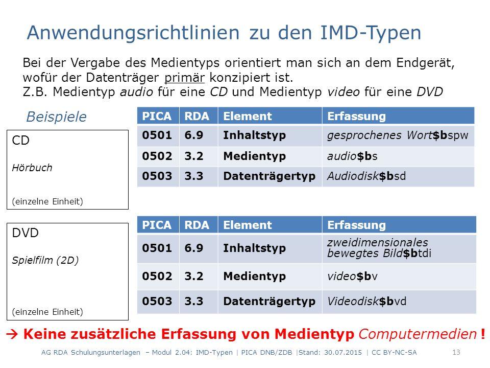 AG RDA Schulungsunterlagen – Modul 2.04: IMD-Typen | PICA DNB/ZDB |Stand: 30.07.2015 | CC BY-NC-SA 13 Bei der Vergabe des Medientyps orientiert man si