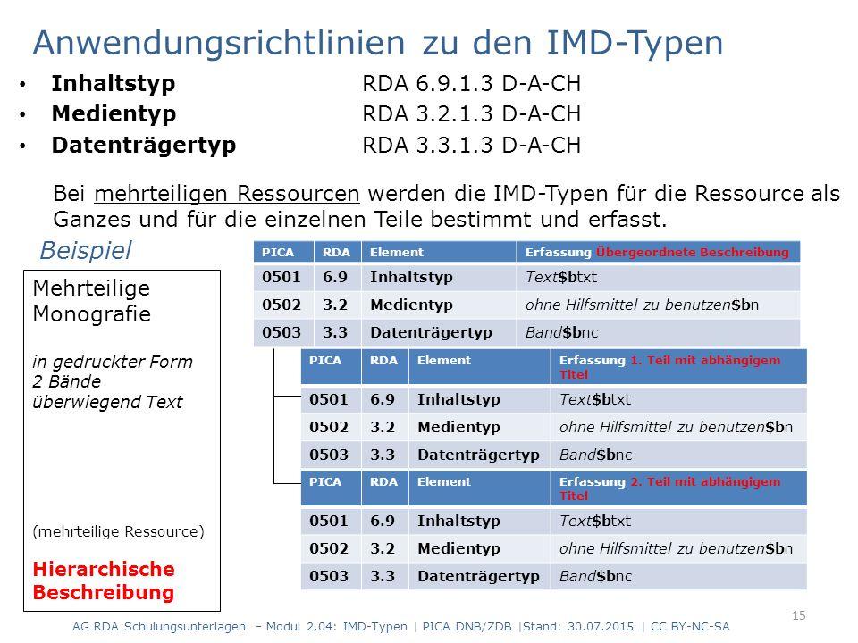 Anwendungsrichtlinien zu den IMD-Typen Inhaltstyp RDA 6.9.1.3 D-A-CH Medientyp RDA 3.2.1.3 D-A-CH Datenträgertyp RDA 3.3.1.3 D-A-CH Bei mehrteiligen R