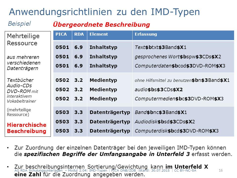 Anwendungsrichtlinien zu den IMD-Typen 16 Mehrteilige Ressource aus mehreren verschiedenen Datenträgern Textbücher Audio-CDs DVD-ROM mit interaktivem