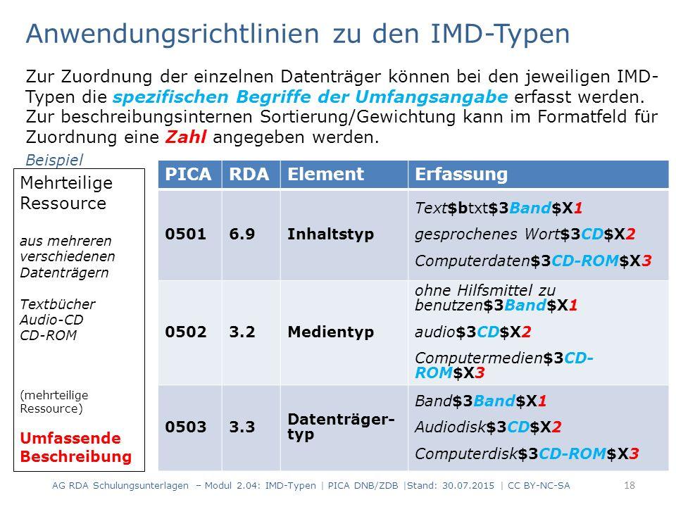 Anwendungsrichtlinien zu den IMD-Typen 18 Mehrteilige Ressource aus mehreren verschiedenen Datenträgern Textbücher Audio-CD CD-ROM (mehrteilige Ressou