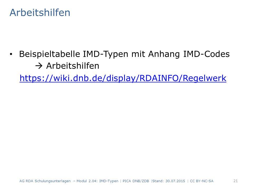 Arbeitshilfen Beispieltabelle IMD-Typen mit Anhang IMD-Codes  Arbeitshilfen https://wiki.dnb.de/display/RDAINFO/Regelwerk AG RDA Schulungsunterlagen