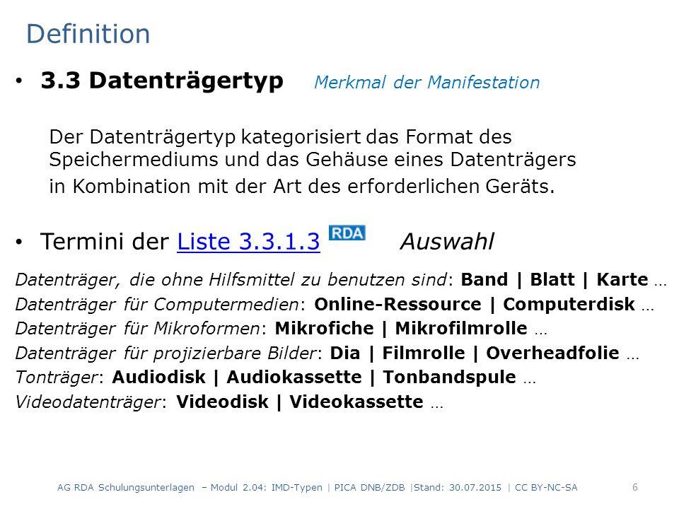 17 Mehrteilige Ressource aus mehreren verschiedenen Datenträgern Textbücher Audio-CDs DVD-ROM mit interaktivem Vokabeltrainer (mehrteilige Ressource) Hierarchische Beschreibung Beispiel PICARDAElementErfassung (Lehrbuch) 05016.9InhaltstypText$btxt 05023.2Medientypohne Hilfsmittel zu benutzen$bn 05033.3DatenträgertypBand$bnc PICARDAElementErfassung (Begleitbuch) 05016.9InhaltstypText$btxt 05023.2Medientypohne Hilfsmittel zu benutzen$bn 05033.3DatenträgertypBand$bnc PICARDAElementErfassung (Audio-CDs) 05016.9Inhaltstypgesprochenes Wort$bspw 05023.2Medientypaudio$bs 05033.3DatenträgertypAudiodisk$bsd PICARDAElementErfassung (DVD-ROM) 05016.9InhaltstypComputerdaten$bcod 05023.2MedientypComputermedien$bc 05033.3DatenträgertypComputerdisk$bcd AG RDA Schulungsunterlagen – Modul 2.04: IMD-Typen | PICA DNB/ZDB |Stand: 30.07.2015 | CC BY-NC-SA Beschreibungen der Teile mit abhängigem Titel