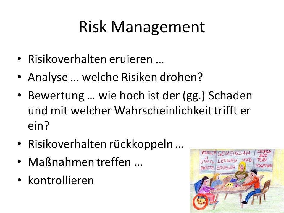 Risk Management Risikoverhalten eruieren … Analyse … welche Risiken drohen.