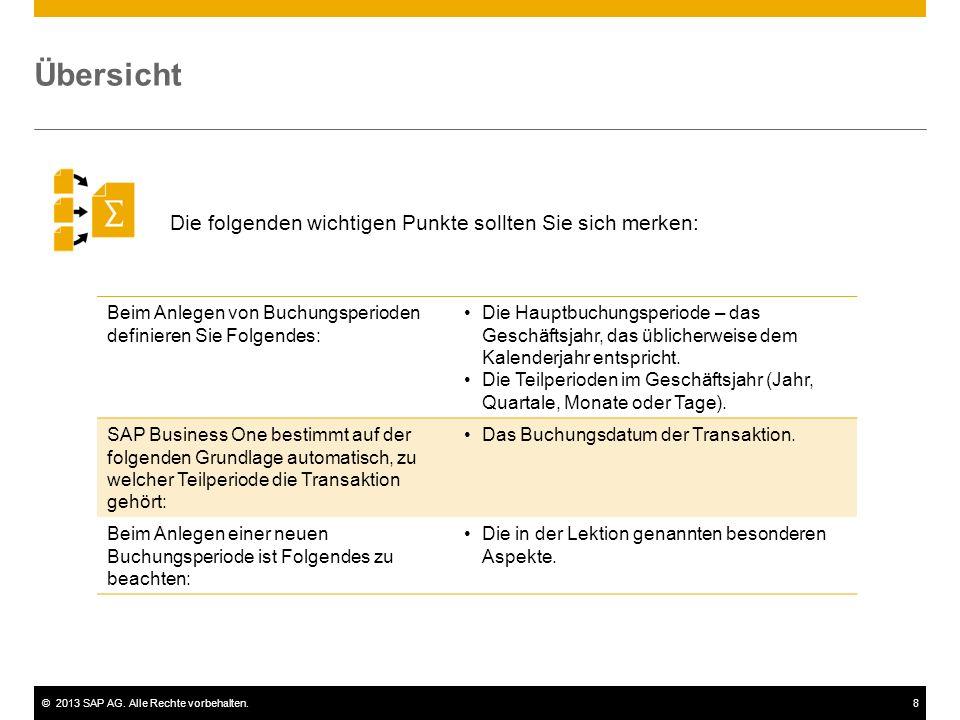 ©2013 SAP AG. Alle Rechte vorbehalten.8 Die folgenden wichtigen Punkte sollten Sie sich merken: Übersicht Beim Anlegen von Buchungsperioden definieren