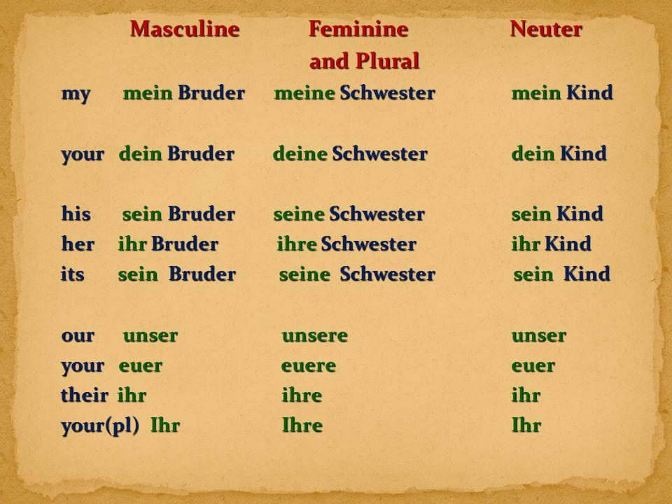 Masculine Feminine Neuter Masculine Feminine Neuter and Plural my mein Bruder meine Schwestermein Kind your dein Bruder deine Schwesterdein Kind his s