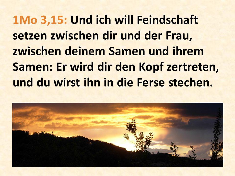 1Mo 3,15: Und ich will Feindschaft setzen zwischen dir und der Frau, zwischen deinem Samen und ihrem Samen: Er wird dir den Kopf zertreten, und du wir