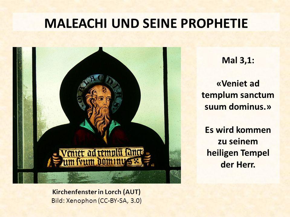 MALEACHI UND SEINE PROPHETIE Kirchenfenster in Lorch (AUT) Bild: Xenophon (CC-BY-SA, 3.0) Mal 3,1: «Veniet ad templum sanctum suum dominus.» Es wird k