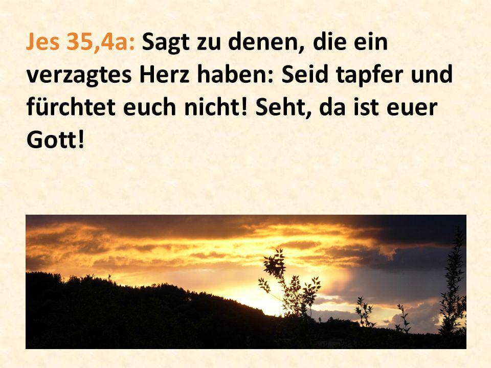 Jes 35,4a: Sagt zu denen, die ein verzagtes Herz haben: Seid tapfer und fürchtet euch nicht! Seht, da ist euer Gott!