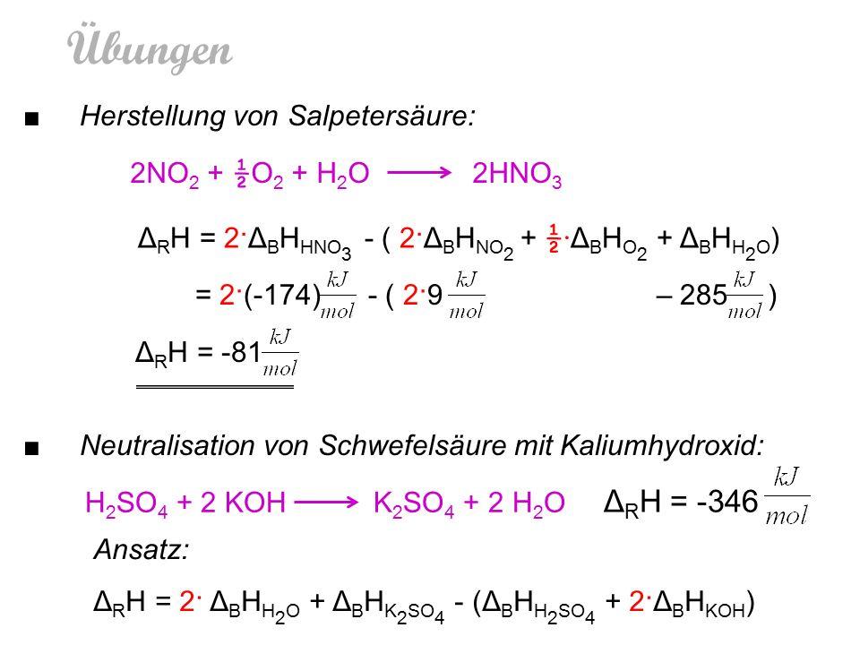 Übungen 2NO 2 + ½ O 2 + H 2 O 2HNO 3 Δ R H = 2·Δ B H HNO 3 - ( 2·Δ B H NO 2 + ½· Δ B H O 2 + Δ B H H 2 O ) = 2·(-174) - ( 2·9 – 285 ) Δ R H = -81 H 2