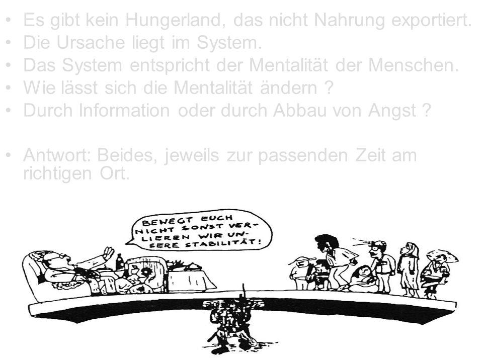 Es gibt kein Hungerland, das nicht Nahrung exportiert. Die Ursache liegt im System. Das System entspricht der Mentalität der Menschen. Wie lässt sich