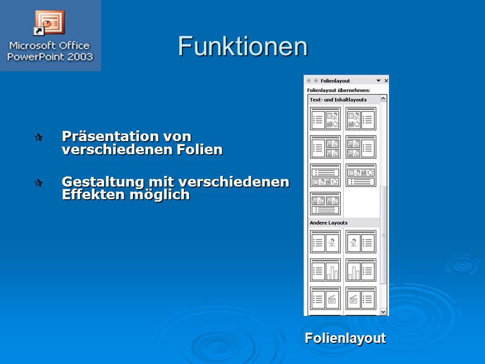 Funktionen  Präsentation von verschiedenen Folien  Gestaltung mit verschiedenen Effekten möglich Folienlayout