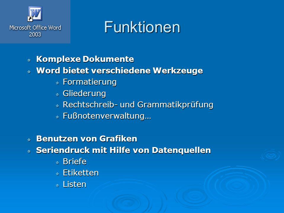 Funktionen  Komplexe Dokumente  Word bietet verschiedene Werkzeuge  Formatierung  Gliederung  Rechtschreib- und Grammatikprüfung  Fußnotenverwal
