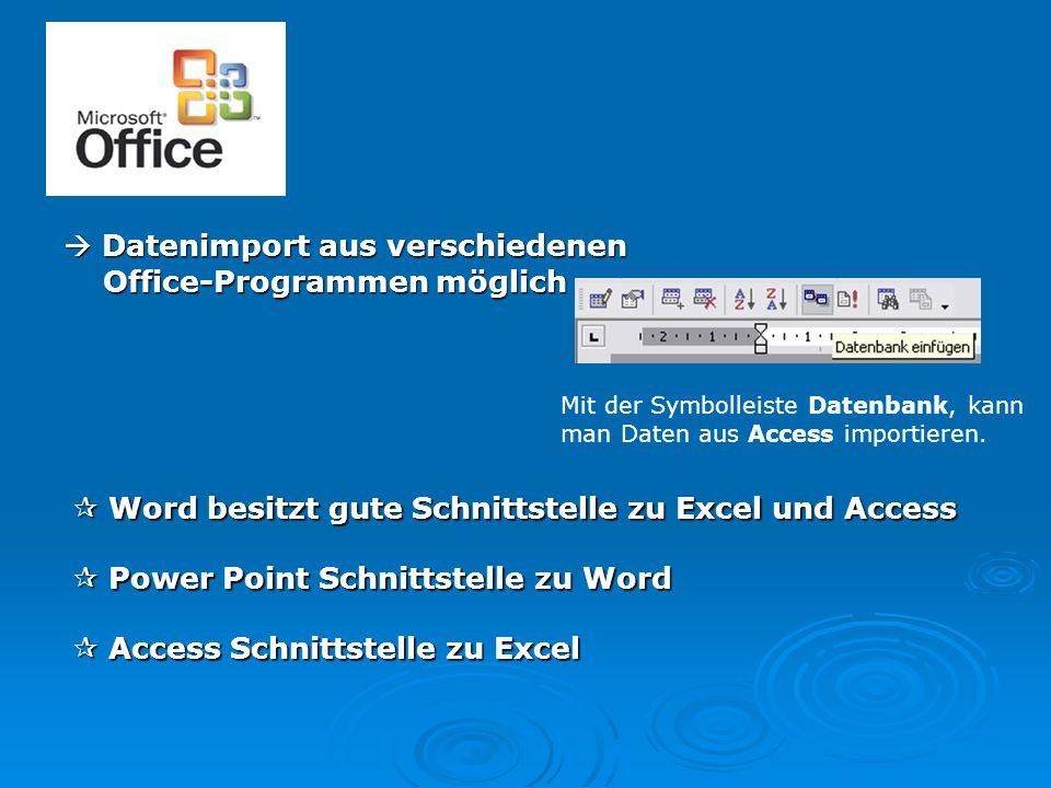  Datenimport aus verschiedenen Office-Programmen möglich Mit der Symbolleiste Datenbank, kann man Daten aus Access importieren.  Word besitzt gute S
