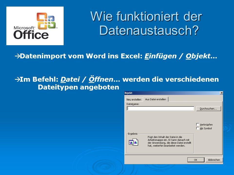 Wie funktioniert der Datenaustausch?  Datenimport vom Word ins Excel: Einfügen / Objekt…  Im Befehl: Datei / Öffnen… werden die verschiedenen Dateit