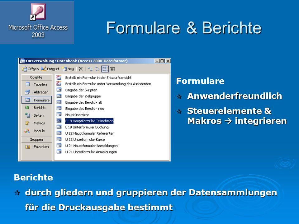 Formulare & Berichte Formulare & Berichte Formulare  Anwenderfreundlich  Steuerelemente & Makros  integrieren Berichte  durch gliedern und gruppie