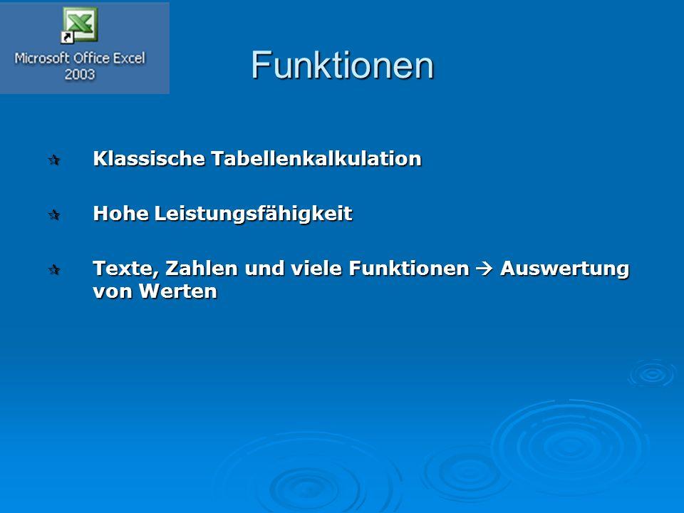 Funktionen  Klassische Tabellenkalkulation  Hohe Leistungsfähigkeit  Texte, Zahlen und viele Funktionen  Auswertung von Werten