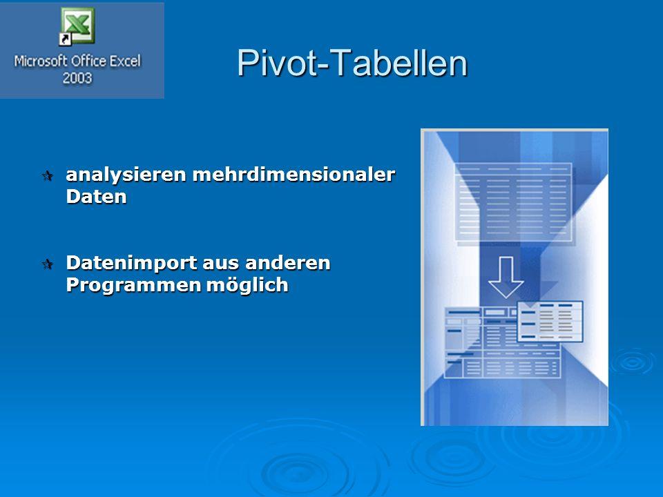 Pivot-Tabellen Pivot-Tabellen  analysieren mehrdimensionaler Daten  Datenimport aus anderen Programmen möglich