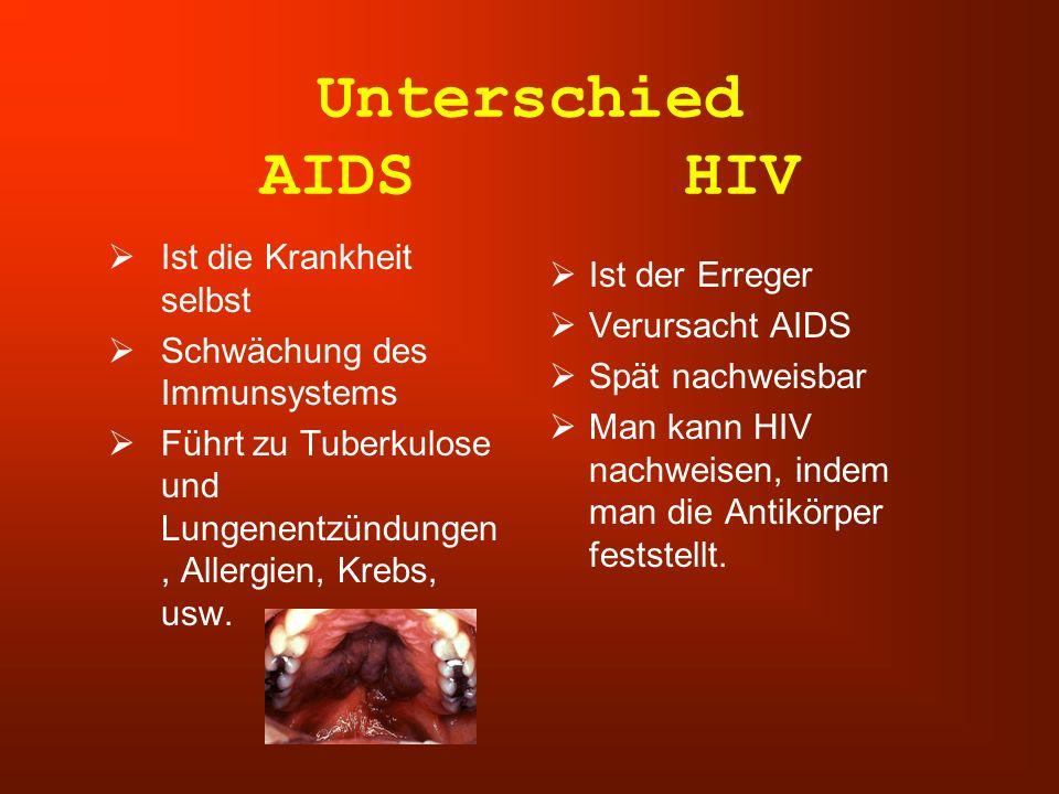Unterschied AIDS HIV  Ist die Krankheit selbst  Schwächung des Immunsystems  Führt zu Tuberkulose und Lungenentzündungen, Allergien, Krebs, usw. 