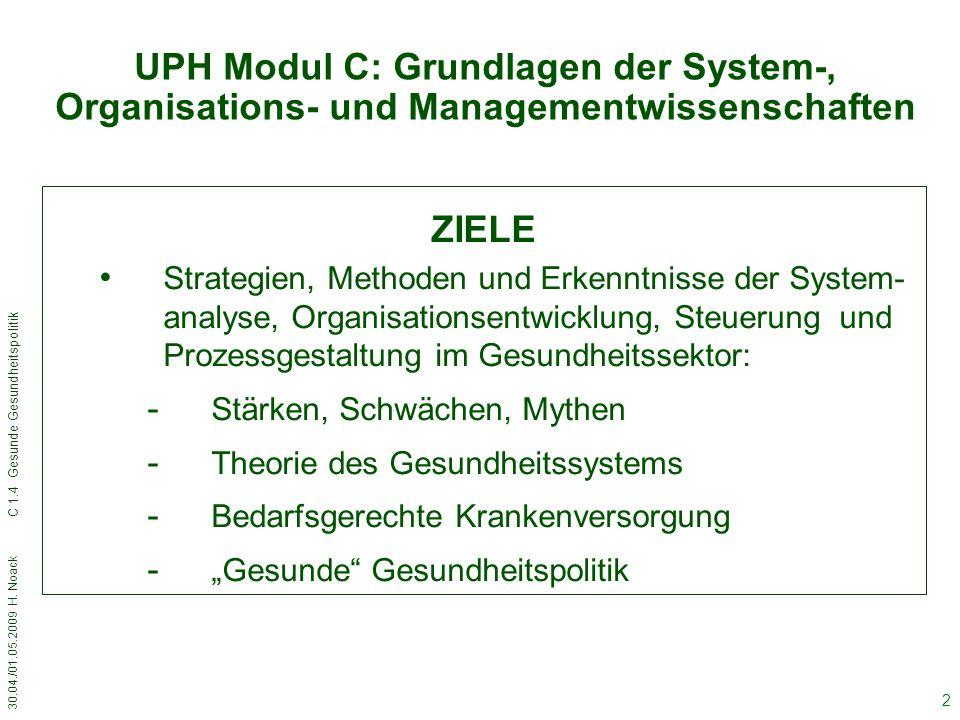30.04./01.05.2009 H.Noack C 1.4 Gesunde Gesundheitspolitik 33 Neue EU-Strategie als Chance.
