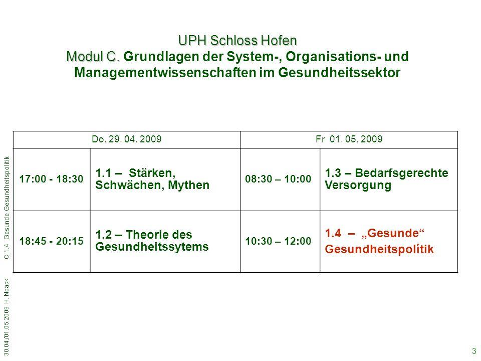 30.04./01.05.2009 H. Noack C 1.4 Gesunde Gesundheitspolitik 3 Do.