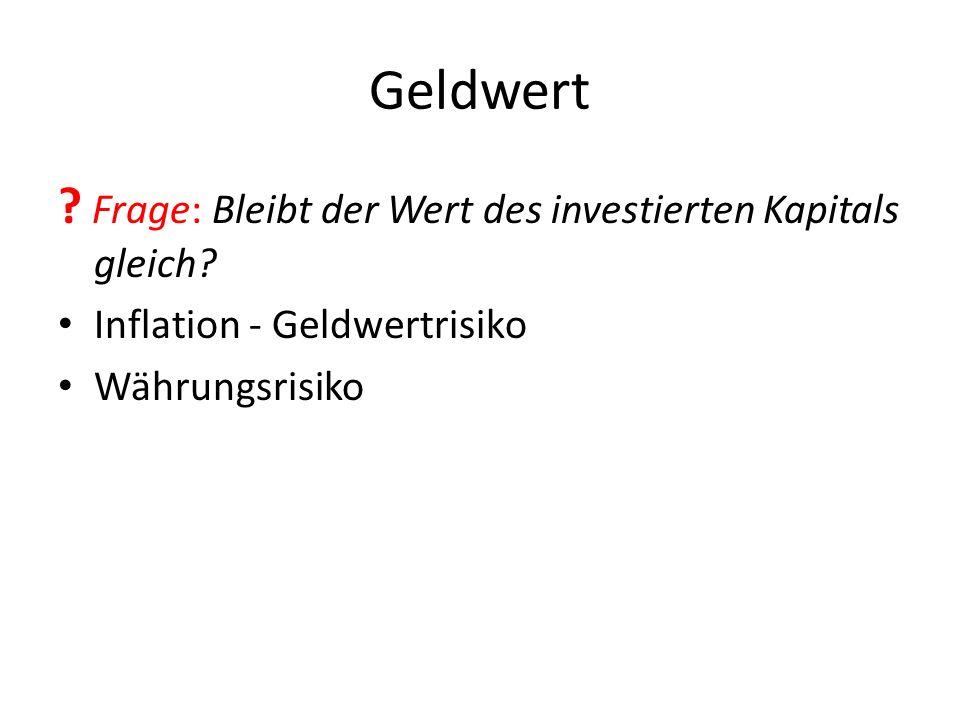 Geldwert ? Frage: Bleibt der Wert des investierten Kapitals gleich? Inflation - Geldwertrisiko Währungsrisiko