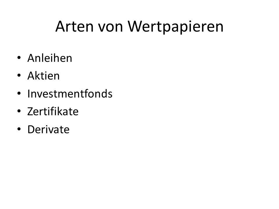 Arten von Wertpapieren Anleihen Aktien Investmentfonds Zertifikate Derivate